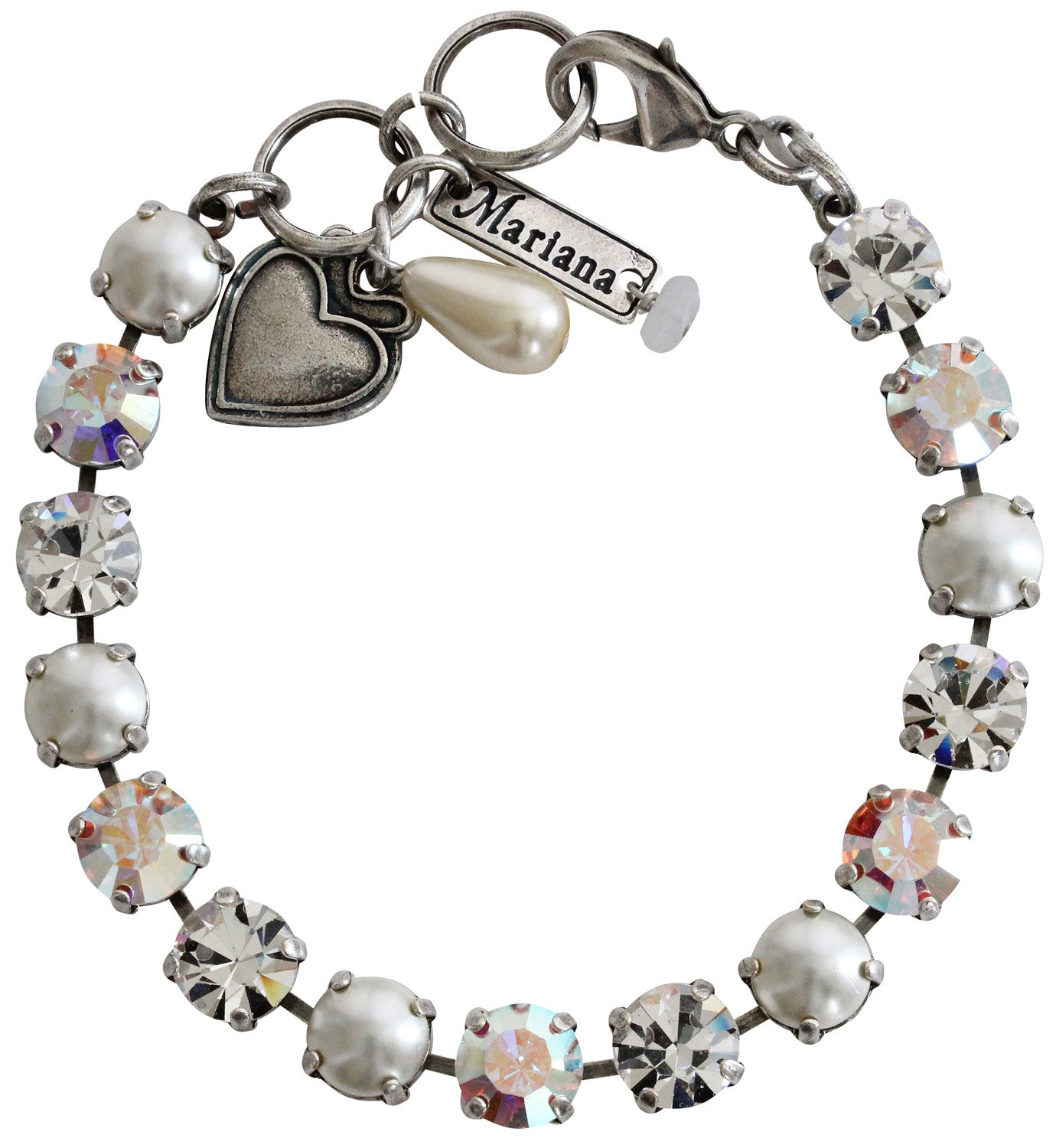 "Mariana Silver Plated Classic Shapes Swarovski Crystal Bracelet, 7.5"" Crystal Pearls 4252 M48001"