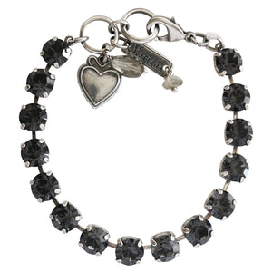 "Mariana ""Zulu"" Silver Plated Classic Shapes Monochromatic Swarovski Crystal 8.5mm Tennis Bracelet, 7"" Gray 4252 245245"