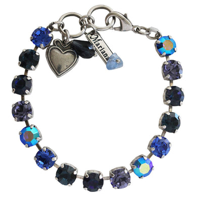 Mariana Electra Silver Plated Classic Shapes Swarovski Crystal Tennis Bracelet, 7