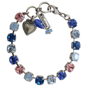 "Mariana ""Kiss from a Rose"" Silver Plated Classic Shapes Swarovski Crystal Tennis Bracelet, 7"" 4252 1068"