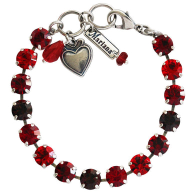 Mariana Lady in Red Silver Plated Classic Shapes Sexy Siam Burgundy Swarovski Crystal Bracelet, 7