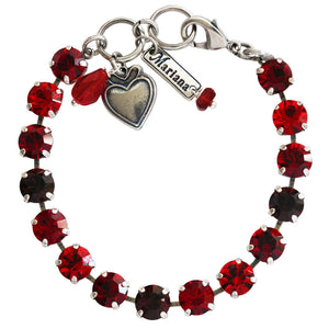 "Mariana Lady in Red Silver Plated Classic Shapes Sexy Siam Burgundy Swarovski Crystal Bracelet, 7"" 4252 1070"