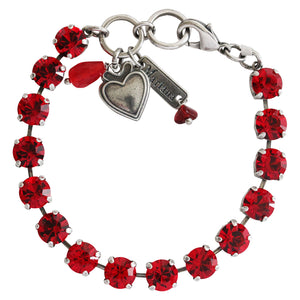 "Mariana ""Lady in Red"" Silver Plated Classic Shapes Monochromatic Swarovski Crystal 8.5mm Tennis Bracelet, 7"" 4252 227227"