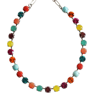 "Mariana ""Masai"" Silver Plated Classic Shapes Swarovski Crystal Necklace, 17.5"" 3252 M1077"