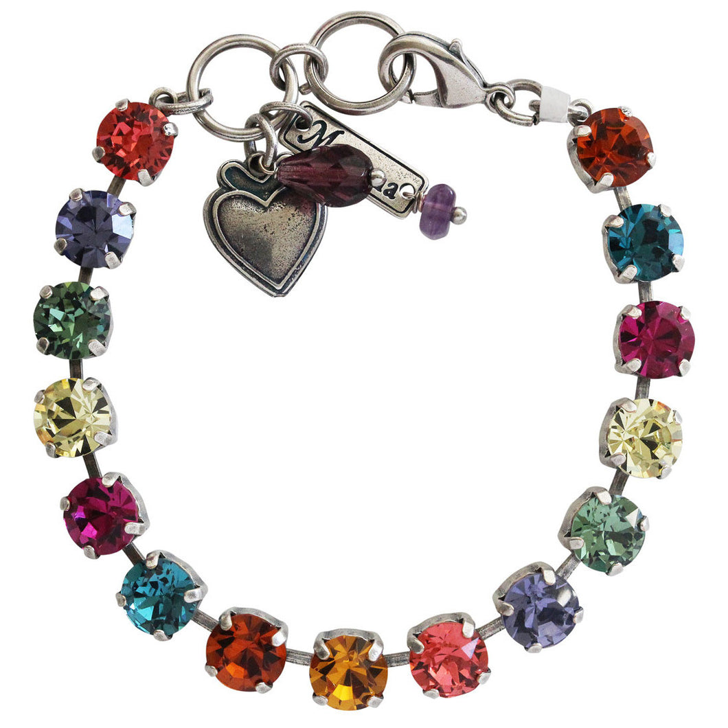 Mariana Crown Jewels Silver Plated Classic Shapes Multi Color Rainbow Swarovski Crystal Bracelet, 7