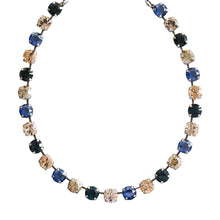 Mariana Ocean Silver Plated Classic Shapes Swarovski Crystal Necklace, Blue Golden Shadow 3252 2142