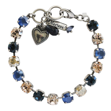 Mariana Silver Plated Classic Shapes Swarovski Crystal Bracelet, Ocean Blue Peach 4252 2142