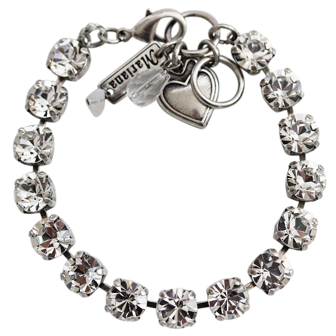 "Mariana Silver Plated Classic Shapes Swarovski Crystal Bracelet, 7"" On A Clear Day 4252 001001"