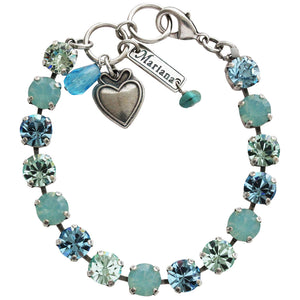 "Mariana Silver Plated Classic Shapes Swarovski Crystal Bracelet, 7"" Pacific Blue 4252 6170"