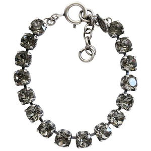 "Catherine Popesco Sterling Silver Plated Cup Chain Crystal Bracelet, 7.5"" 1652B Gray"