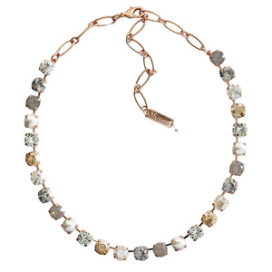 Mariana Rose Gold Plated Classic Shapes Swarovski Crystal Necklace, Seashell Moonlight Pearl 3252 39361rg