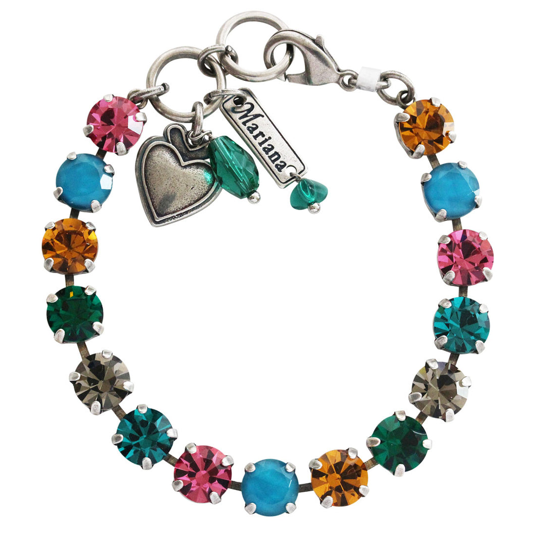 Mariana Selene Silver Plated Classic Shapes Multi Color Swarovski Crystal Bracelet, 7