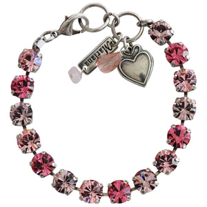 "Mariana Silver Plated Classic Shapes Swarovski Crystal Bracelet, 7"" Pink 4252 2230"