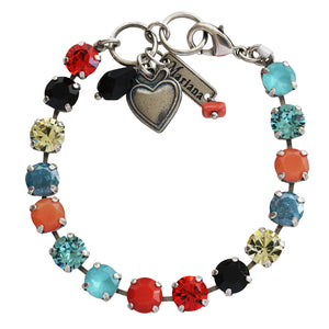 "Mariana ""St. Barths"" Silver Plated Classic 8.5mm Swarovski Crystal Tennis Bracelet, 7"" Multi Color 4252 1104"