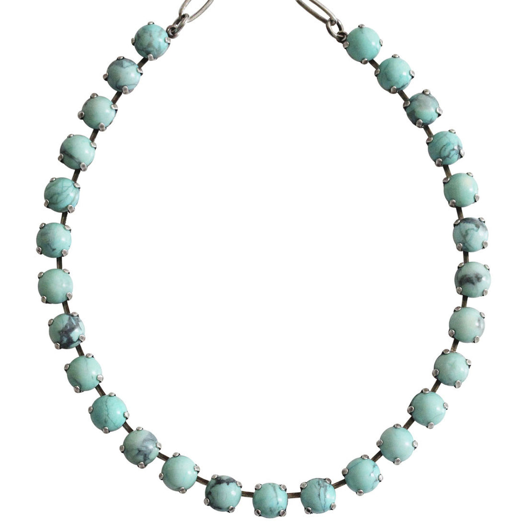 Mariana Turquoise Silver Plated Classic Shapes Swarovski Crystal Necklace, 17.5