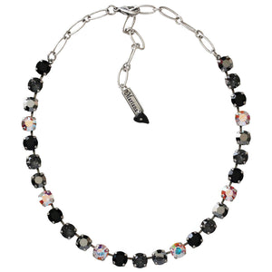 "Mariana Silver Plated Classic Shapes Swarovski Crystal Necklace, 17.5"" Tuxedo 3252 3701"