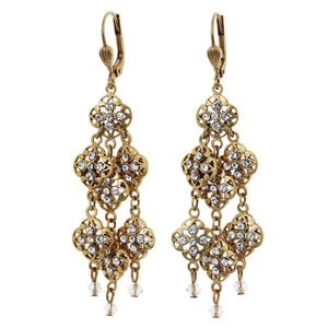 Catherine Popesco 14k Gold Plated Lotus Filigree Chandelier Dangle Swarovski Earrings, 4967G Clear