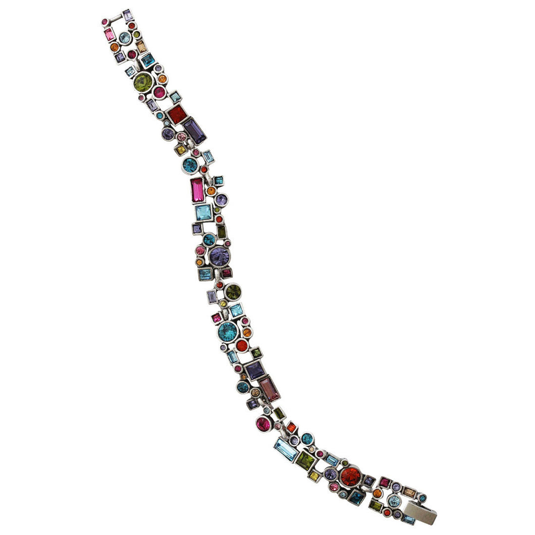 Patricia Locke Confetti Sterling Silver Plated Swarovski Crystal Multi Color Bracelet, 7.25