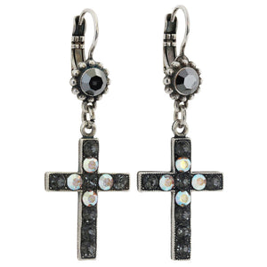 "Mariana ""Tuxedo"" Silver Plated Cross Dangle Swarovski Crystal Earrings, 1247 3701"