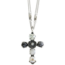 "Mariana ""Zulu"" Silver Plated Cross Floral Swarovski Crystal Pendant Double Chain Necklace, 5127 M1080"