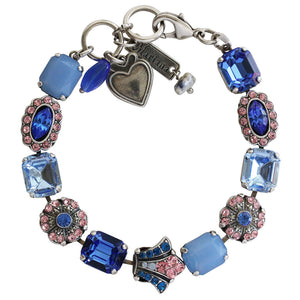 "Mariana ""Kiss from a Rose"" Silver Plated Baguette Rectangular Swarovski Crystal Bracelet, 7.5"" 4014 1068"