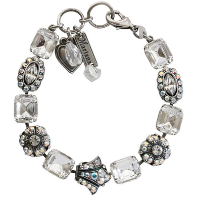Mariana Silver Plated Rectangular Crown Swarovski Crystal Bracelet, 7.75