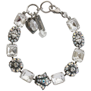 "Mariana Silver Plated Rectangular Crown Swarovski Crystal Bracelet, 7.75"" Clear Crystal AB 4014 0011AB"