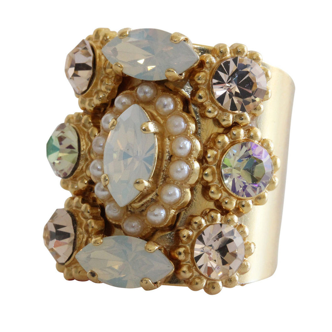 Mariana Gold Plated Marquis Cluster Statement Swarovski Crystal Ring, 8.5 Tequila Sunrise 7503 2102yg