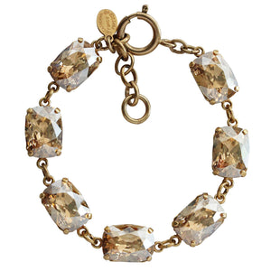 "Catherine Popesco 14k Gold Plated Crystal Rectangular Bracelet, 7-8"" 1606G Champagne"