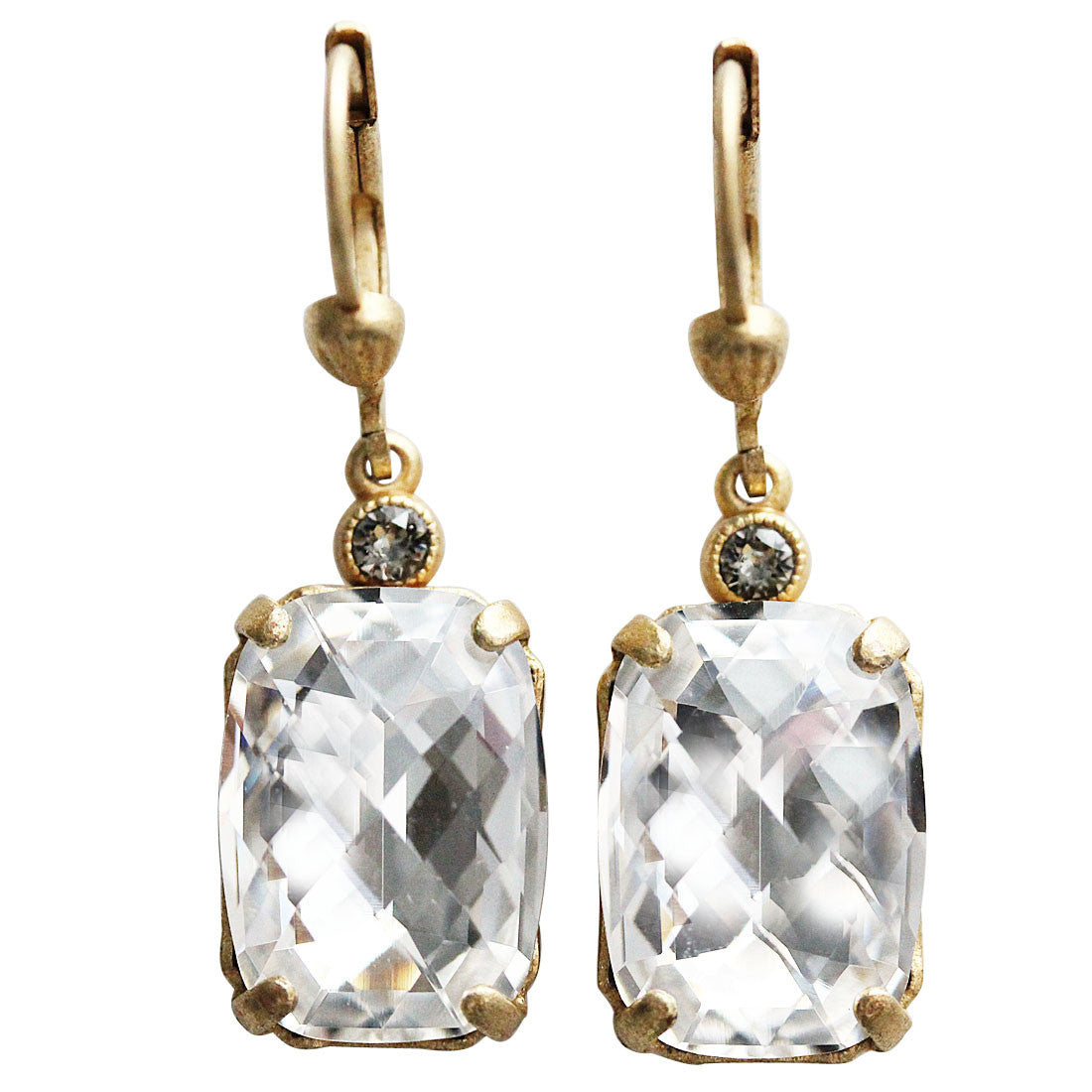 Catherine Popesco 14k Gold Plated Crystal Rectangular Earrings, 6560G Clear
