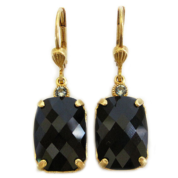 Catherine Popesco 14k Gold Plated Crystal Rectangular Earrings, 6560G Jet