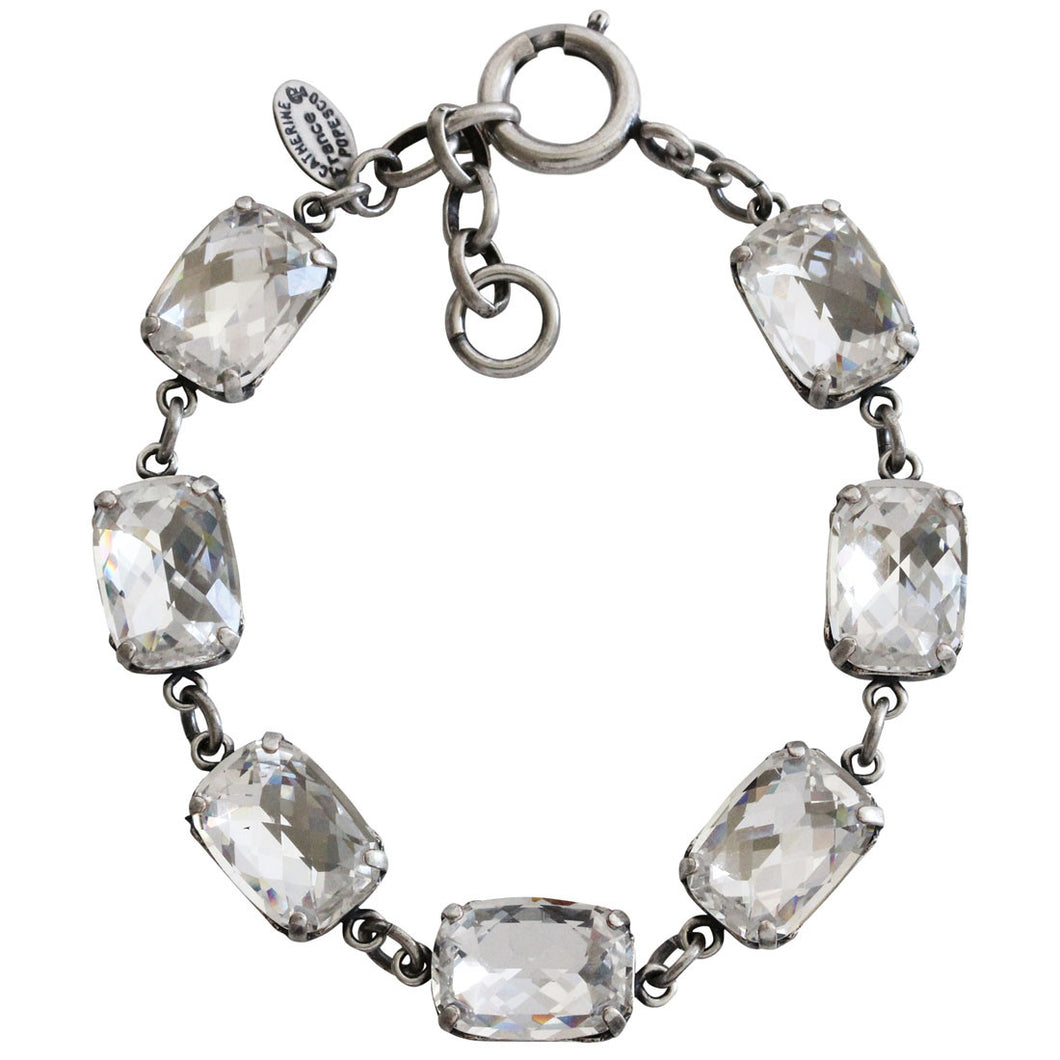 Catherine Popesco Sterling Silver Plated Crystal Rectangular Bracelet, 7-8