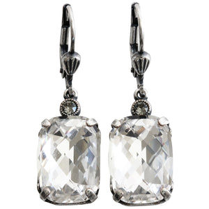 Catherine Popesco Sterling Silver Plated Crystal Rectangular Earrings, 6560 Clear