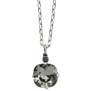 "Catherine Popesco Sterling Silver Plated Swarovski Crystal 12mm Pendant Necklace, 16"" 6556N Black Diamond"