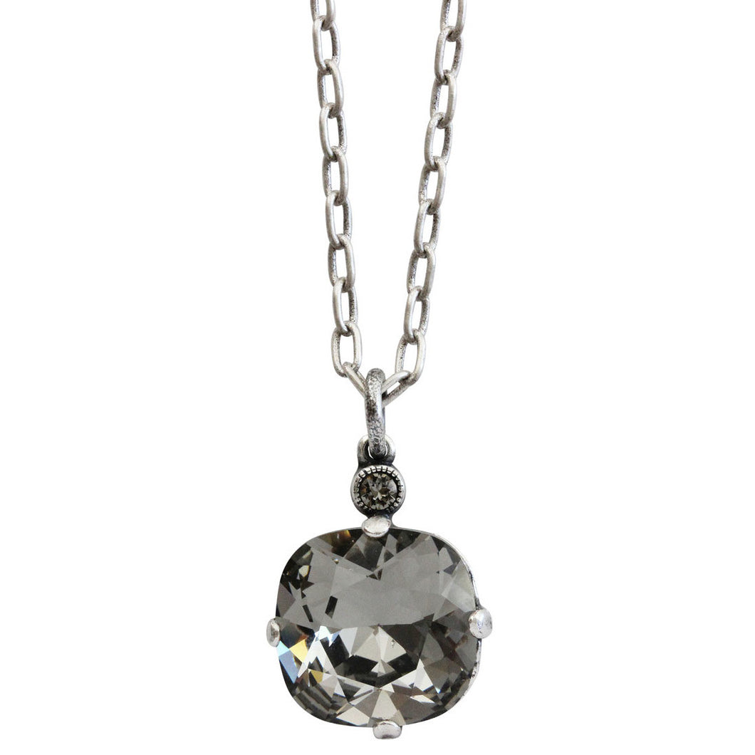Catherine Popesco Sterling Silver Plated Swarovski Crystal 12mm Pendant Necklace, 16