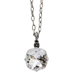 "Catherine Popesco Sterling Silver Plated Swarovski Crystal 12mm Pendant Necklace, 16"" 6556N Clear"