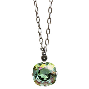 "Catherine Popesco Sterling Silver Plated Swarovski Crystal 12mm Pendant Necklace, 16"" 6556N Ocean"