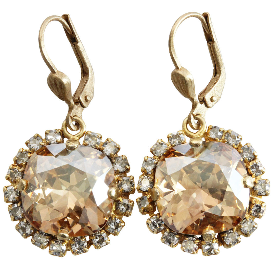 Catherine Popesco 14k Gold Plated Cushion Crystal Border Earrings, 4537G Champagne