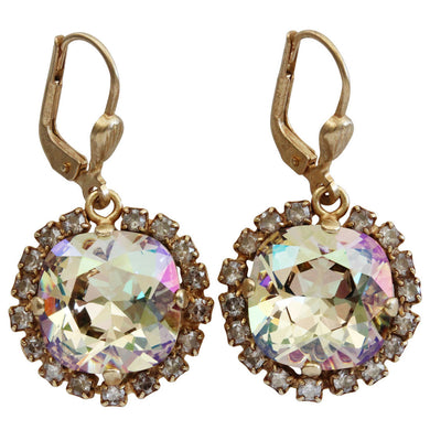 Catherine Popesco 14k Gold Plated Cushion Swarovski Crystal Border Earrings, 4537G Luminescent Shade