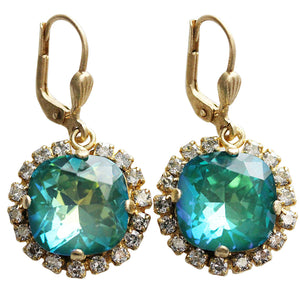 Catherine Popesco 14k Gold Plated Cushion Crystal Border Earrings, 4537G Mermaid