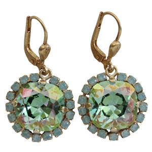 Catherine Popesco 14k Gold Plated Cushion Swarovski Crystal Border Earrings, 4537G Ocean Pacific Blue