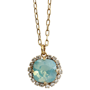 "Catherine Popesco 14k Gold Plated Round Swarovski Crystal Border Pendant Pendant Necklace, 16"" 4537GN Pacific Opal Shade"
