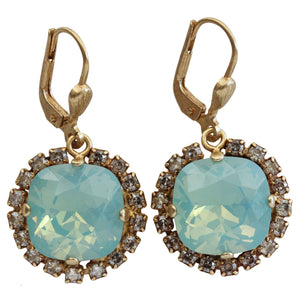 Catherine Popesco 14k Gold Plated Cushion Swarovski Crystal Border Earrings, 4537G Pacific Opal Shade