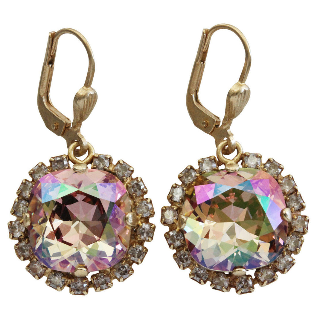 Catherine Popesco 14k Gold Plated Cushion Swarovski Crystal Border Earrings, 4537G Purple Haze Shade
