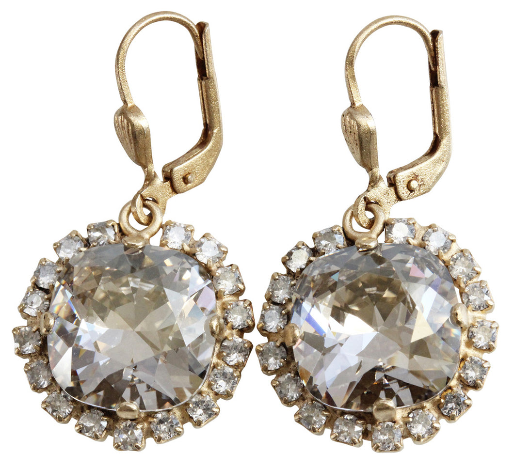 Catherine Popesco 14k Gold Plated Cushion Crystal Border Earrings, 4537G Shade