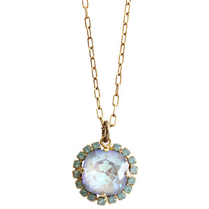 "Catherine Popesco 14k Gold Plated Round Swarovski Crystal Border Pendant Pendant Necklace, 16"" 4537GN Ultra Arctic Pacific Blue"