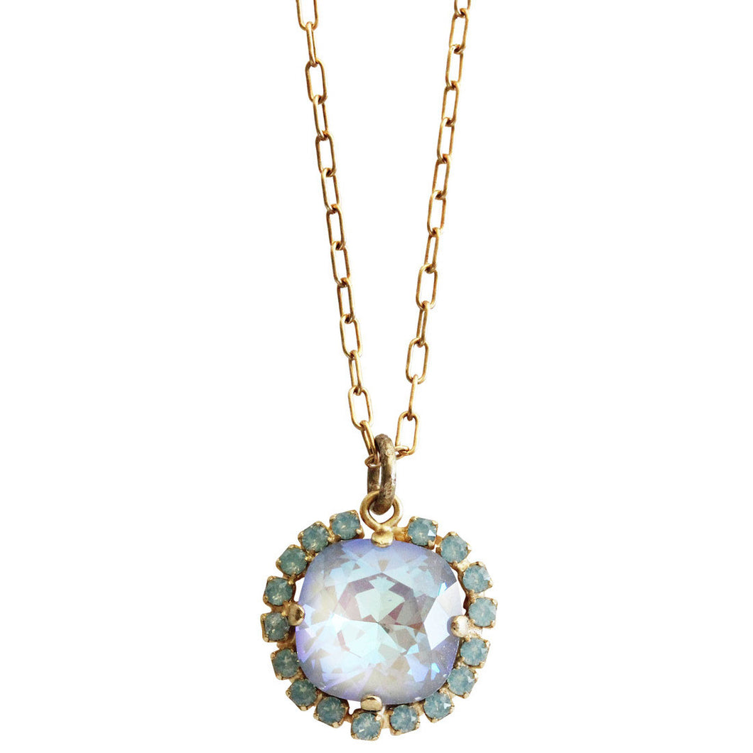 Catherine Popesco 14k Gold Plated Round Swarovski Crystal Border Pendant Pendant Necklace, 16