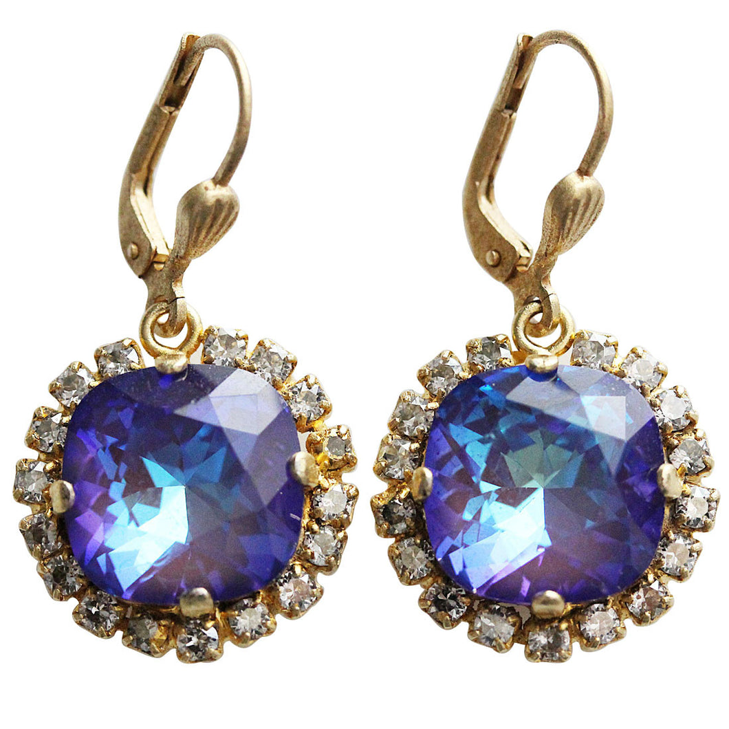 Catherine Popesco 14k Gold Plated Cushion Crystal Border Earrings, 4537G Ultra Purple