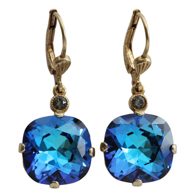 Catherine Popesco 14k Gold Plated Crystal Round Earrings, 6556G Bermuda Blue