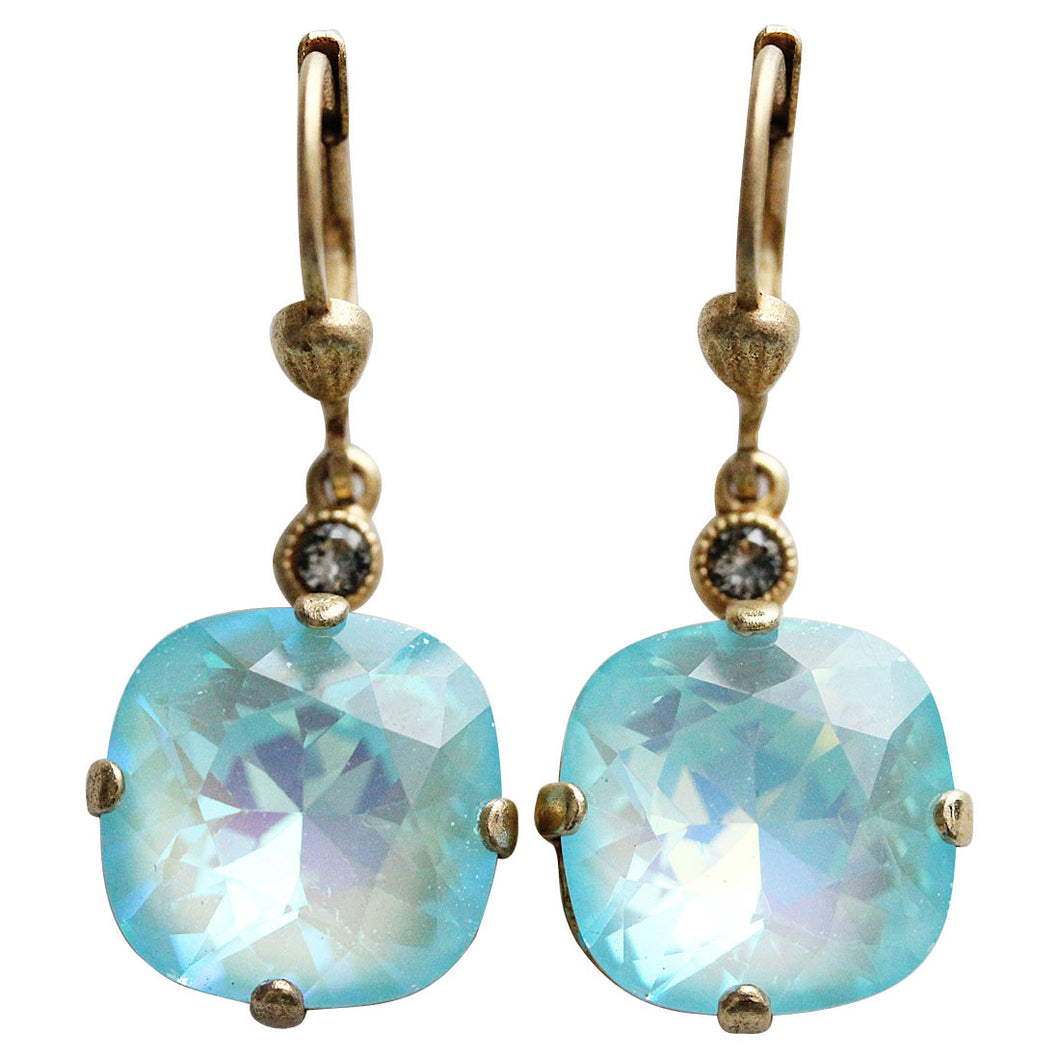Catherine Popesco 14k Gold Plated Crystal Round Earrings, 6556G Blue Lagoon
